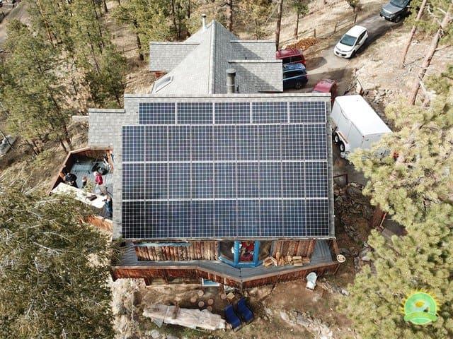 John & Patty Solar Installation in Evergreen, CO - Drone Aerial Photo